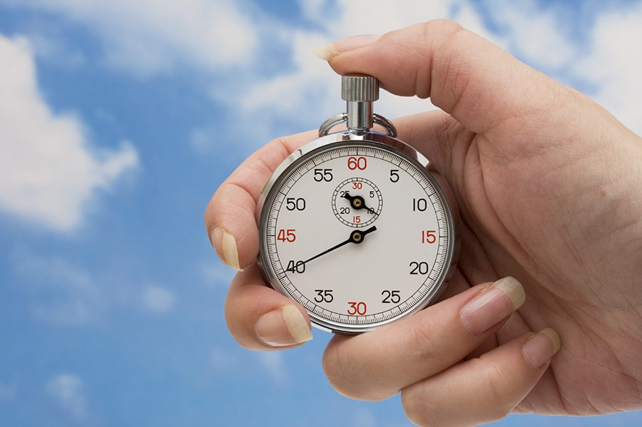 Create more time, picture of hand holding stopwatch