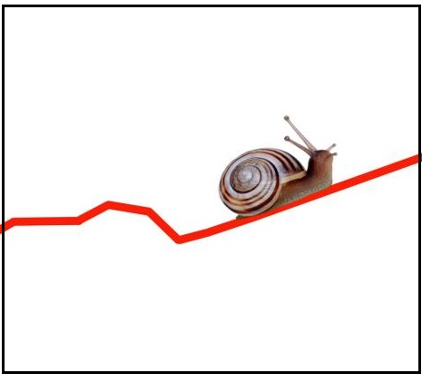 When business is slow, snail on a graph line