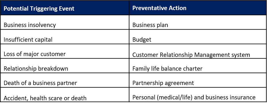 Table of business insurance and other preventative actions for unexpected events